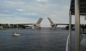 Drawbridge Opening to Let a Tall Sailboat Pass. Click photo for full size.