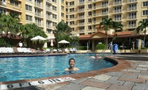 Tim Enjoying the Pool at Embassy Suites. Click photo for full size.