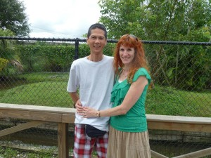 Tim and Jeri Outside of Alligator Enclosure. Click photo for full size.