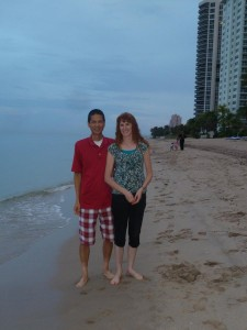 Tim and Jeri Walking on the Beach. Click photo for full size.