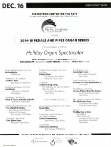Holiday Organ Spectacular 2014 Program. Click for full size.