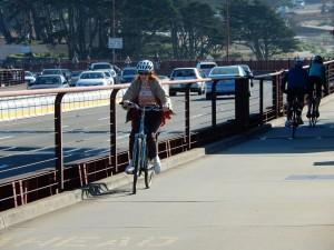 Biking to the Bridge. Click photo to view full size.