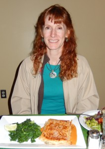 Jeri with the Phillo Dough Pie at Herbivore Restaurant. Click photo to view full size.