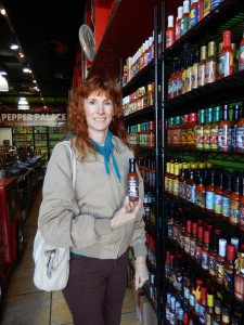 Picking out a sauce at the Pepper Palace. Click photo to view full size.