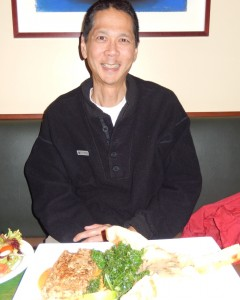 Tim with Quinoa Cake at Herbivore Restaurant. Click photo to view full size.