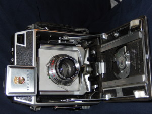 Linhof camera with front open. Click photo for full size.