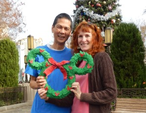Tim and Jeri with a Mickey Wreath. Click photo for full size.