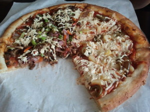 Vegan Pizza - Philly Cheese Steak and Hawaiian. Click photo for full size.